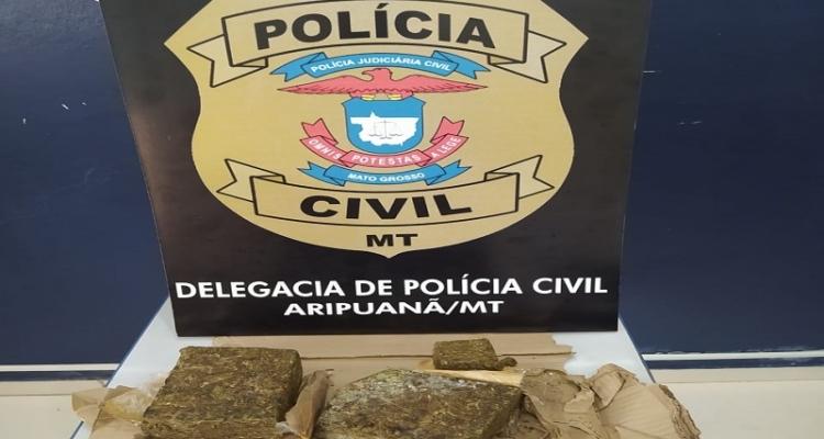 Polícia Civil prende homem na rua com tijolo de maconha embaixo do braço em Aripuanã